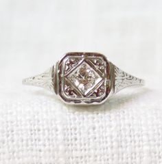 Vintage 1920s Diamond Engagement Ring in by MagpieVintageJewelry