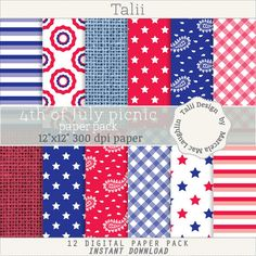 SALE! Fourth of July Paper- 4th of JULY PICNIC- Stars and stripes digital paper red blue white flags gingham burlap bandana picnic patterns
