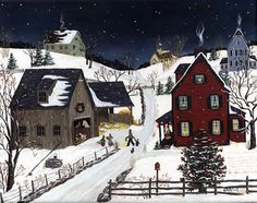"""""""Taking the Animals Their Christmas Treat""""  by Sharon Ascherl"""