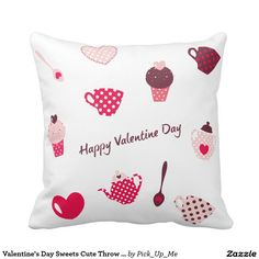 Valentine's Day Sweets Cute Throw Pillows