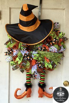 Halloween wreath deco mesh wreath witch wreath fall wreath