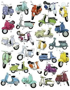 Vespas!!! @Katy Erickson on our coast trip in europe or in the streets of Englad!!! ..yeah. It will happen!