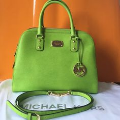 "Michael Kors Bag! Pear color!🍐 Like new! Michael Kors Bag with gold hardware. Beautiful pear color. Carried once. Comes with crossbody strap. Like new. Does not come with dust bag. Approximate Size L-13.5"" H-10"" W-6"". Michael Kors Bags"