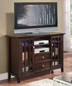 Simpli Home Bedford TV Media Stand, 54″W x 35″H, Dark Tobacco Brown  http://www.mytimehome.com/simpli-home-bedford-tv-media-stand-54w-x-35h-dark-tobacco-brown/