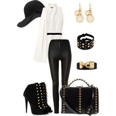 A fashion look from February 2014 featuring white blouse, high waisted wide leg pants and black ankle booties. Browse and shop related looks. White Outfits, Black And White, Shoe Bag, Polyvore, Stuff To Buy, Shopping, Collection, Shoes, Design