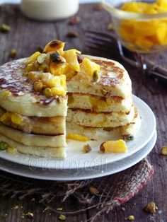 Mango Pancakes with Saffron Cardamom Cream by Soma of Ecurry