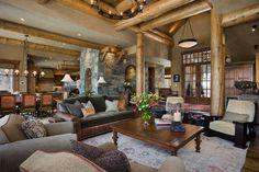 rustin cabin life | rustic #log #cabin #montana #beams #den #living #room #livingroom www ...