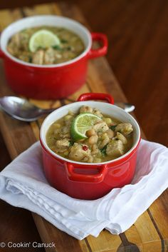 Smoky White Chicken Chili with Corn & White Beans...A favorite with my family! 218 calories & 4 Weight Watcher PP per serving.  | cookincanuck.com #recipe #glutenfree