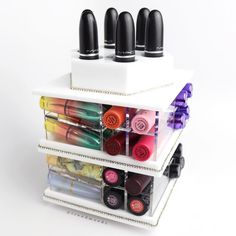 I #LOVE @zahrabeautystore Lipstick Towers. Look at this #cute MINI Spinning  #LipstickTower !!!  It holds 38 lipsticks (the regular size holds 81) $45 9 different colors  The perfect size for a small limited space. It gives such a beautiful touch decoration to your vanity. And the little bling details makes it look luxury and fun. I have about 3 towers (regular size for lipsticks / compacts / glosses well more for liquid lipsticks for me haha) and I truly love them. I take advantage more of…