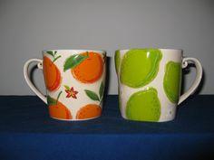 Starbucks 2006 Raised 3D Lime & Orange Daisy   Coffee Mug Cup Embossed Rare Mint