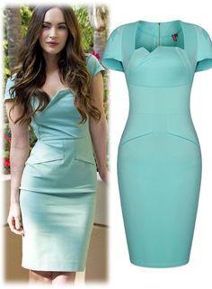 O My Love Cap Sleeve Pencil Dress in Aqua Green