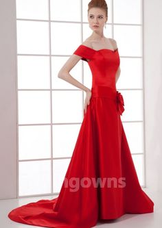 Short  Sleeve Zipper Taffeta Sweep A-line Bow Red Off-the-shoulder Mother Of The Bride Dresses