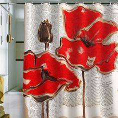 Irena Orlov 'Red Perfection' Shower Curtain