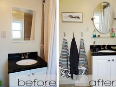 Small bathroom revamp on a budget... good blog about small diy home projects too.