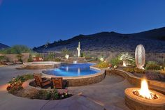 Fire and Water- a dynamic duo in this desert oasis http://www.ultraoutdoors.com/photos/fire-pits/