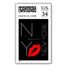 Greetings from #NewYork Red Lipstick Kiss Black #Stamps