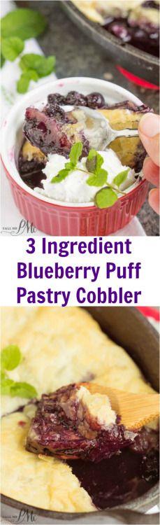3 Ingredient Blueberry Puff Pastry CobblerReally nice recipes.  Mein Blog: Alles rund um die Themen Genuss & Geschmack  Kochen Backen Braten Vorspeisen Hauptgerichte und Desserts # Hashtag