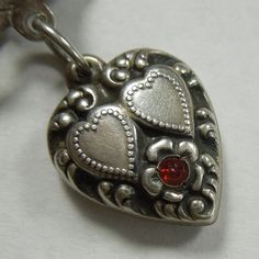 """Sterling Silver Repousse Puffy Heart Charm ~ Red Stone ~ Engraved """"Love Bill"""" from the-big-o on Ruby Lane"""