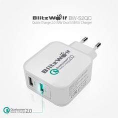 BlitzWolf EU Qualcomm Certified 2.4A Quick Charger 2.0 Dual Port Micro USB Fast Charge Adapter Power 3S Tech for iPhone Samsung