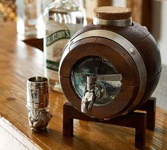 Barrel Whiskey Drink Dispenser & Stand | Pottery Barn, this would be fun for your bar, next to the glasses you love.