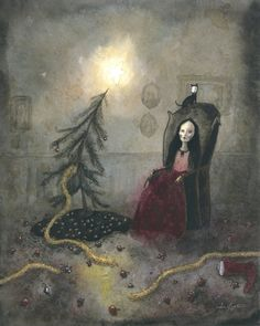 This listing is for one print of Sophia Rapatas original painting, Christmas Eve, which was originally painted using ink, watercolor & coffee. Printed on 100 lbs. Christmas Alone, Dark Christmas, Christmas Art, Scary Art, Creepy, Unusual Art, Pop Surrealism, Mexican Folk Art, Christmas Paintings