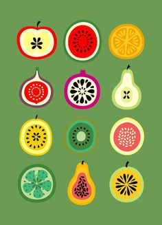 These simple fruit illustrations are also nice. They are simple, yet detailed. And the colors really pop on the green background. It makes me crave a fresh piece of fruit Banca de Frutas Art Print Fruit Illustration, Food Illustrations, Guache, Grafik Design, Food Art, Pattern Design, Print Patterns, Artsy, Design Inspiration