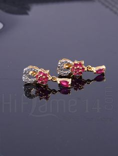 Tiny Earrings with Pink and White CZ Stones