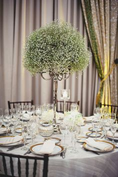 Baby's breath tall centerpieces