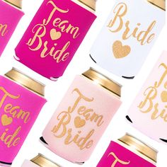 To have and to hold, and to keep your drink COLD. Take your party game to the next level with this ridiculously cute and READY TO SHIP Team Bride drink cooler- and dont forget to stock up on our matching hair tie and tattoo favors! Bachelorette Party Drinks, Bridal Shower Drinks, Bridal Shower Party, Bridesmaid Favors, Bridesmaid Proposal Gifts, Bridesmaid Ideas, Team Bride, Drink Sleeves, Beer Bottle