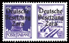 Enlarged Image 343.jpg  $10,925.00 1943 50c violet with warship label, double overprint type II, only 7 recorded