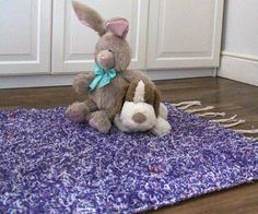 Purple shaggy Rug 120X160 cm.. Handwoven Cotton | Eco-Friendly | Washable | Reversible