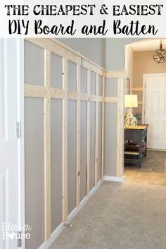 The Cheapest and Easiest DIY Board and Batten (Part One) Diy Wainscotting, Wainscoting Ideas, Wainscoating Dining Room, Wainscoting Nursery, Dining Room Wainscoting, Shiplap Headboard, Diy Waynes Coating, Waynes Coating Bathroom, Bathroom Wall Ideas