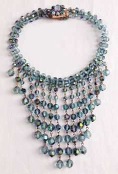 Vintage Miriam Haskell Era Blue AB Glass Bead Dangling Waterfall Rhinestone Clasp Necklace