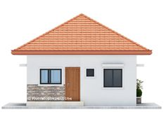 Two bedroom small house design is small version of Ruben Model. Simple design with long span galvanized iron roofing, pre-paint metal tile effect on steel purlins and trusses. Wall is white Two Bedroom House Design, House Roof Design, Bedroom House Plans, Small House Design, Gate Design, Beautiful House Plans, Simple House Plans, Modern Bungalow House, Bungalow House Plans