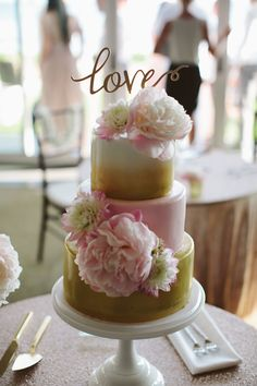 Fondant Wedding Cake in Ivory, Pink & Gold with LOVE cake topper and peonies