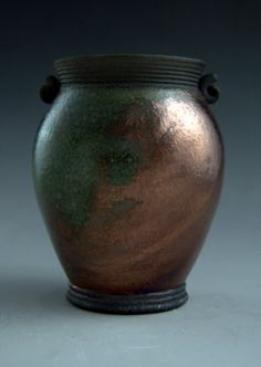 Raku Pottery Metallic Copper Green Handmade Art by clayguyry, $32.00