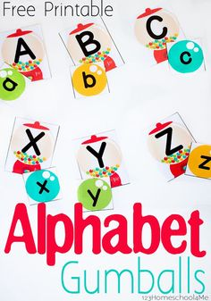 FREE Alphabet Gumballs This is such a cute free printable activity to help toddler preschool and kindergarten age kids practice identifying upper and lower case letters. Preschool Literacy, Preschool Printables, Kindergarten Reading, Literacy Activities, Toddler Preschool, Kindergarten Worksheets, Teaching Resources, File Folder Activities, Folder Games