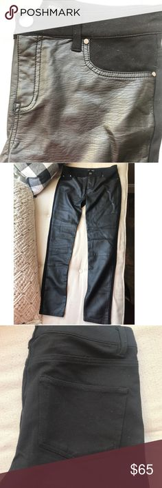 a211664b521fbe Aqua faux leather leggings Faux leather in the front, soft stretchy  material in the back