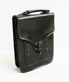 Antique Medieval Leather Bag with Unique Swivel Lock. $72,00, via Etsy.