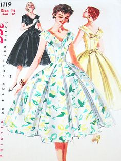 Vintage 50s Dress Pattern  Simplicity 1119  by ThePatternSource, $34.00