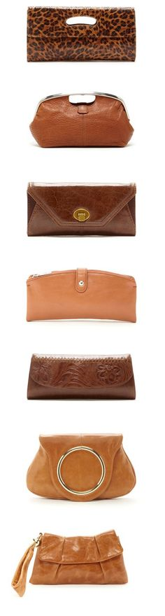 Brown Clutch Purses/Bags [Something like this would be good to pin on a Hair-Colored Accessories board]