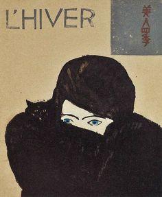"inland-delta: ""Kōshirō Onchi, cover for magazine Beauty Four Seasons(winter) 1927 "" Onchi Koushirou 恩地孝四郎 (1891-1955) Bijin shiki 美人四季 / Beauty four seasons (L'hiver) magazine cover - Japan - 1927"