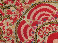 uzbek suzani textiles, silk embroidery, fragment,  Nurata, Uzbekistan, 19th c.