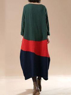 Cotton linen autumn long dress – Buykud