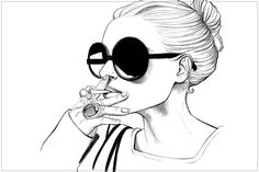 Fashionably smoking.