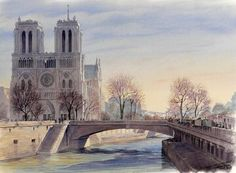 Thierry Duval was born in Paris, France. His watercolors are characterized by a strong light and precision in drawing, being almost or hyperrealist in the results mainly in his Paris watercolors. Pont Paris, Paris Painting, Channel, Paris Ville, Paris Street, Pictures To Paint, Watercolor Paintings, Watercolor Japan, Art Gallery