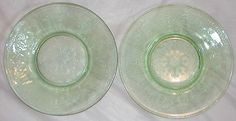 Belmont GLASS | Vintage GREEN Belmont Tumbler Co DEPRESSION GLASS Plates~ROSE CAMEO 6 ...