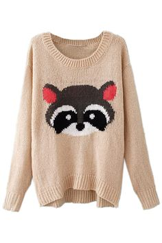 ROMWE | Racoon Embroidered Beige Jumper, The Latest Street Fashion