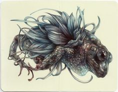 """Marco Mazzoni """"The Furious One"""" 2014, colored pencils on moleskine paper."""