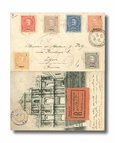 Macau, 1908 (24 Aug.) registered postcard to Lyon, France (23.9) via Hong Kong (25.8) bearing Don Carlos I 1a., 3a., 4a., 13a., 16a. and 18a...